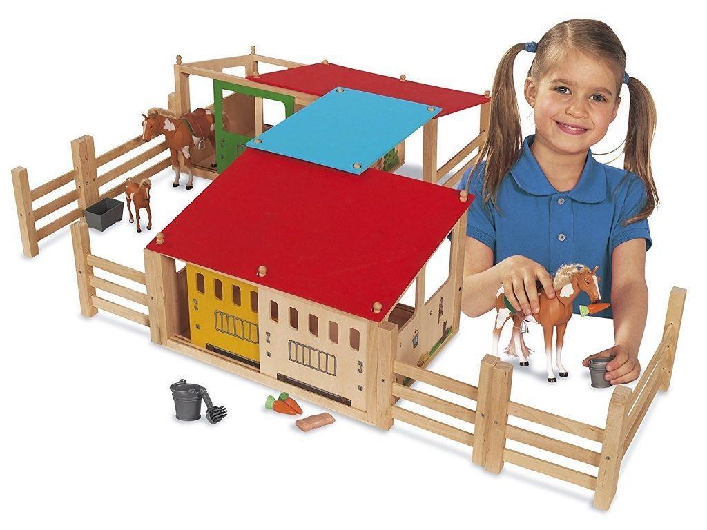 lesene igrače hlev za konja