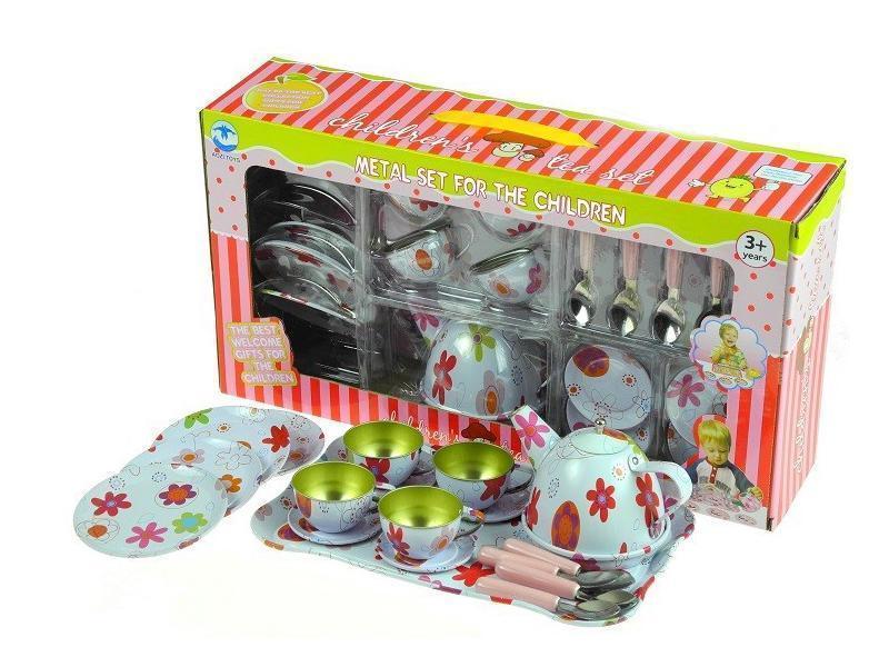 Otroški kuhinjski set kovinskih posodic za čaj