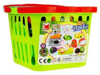 Igrača nakupovalna košarica z sadjem
