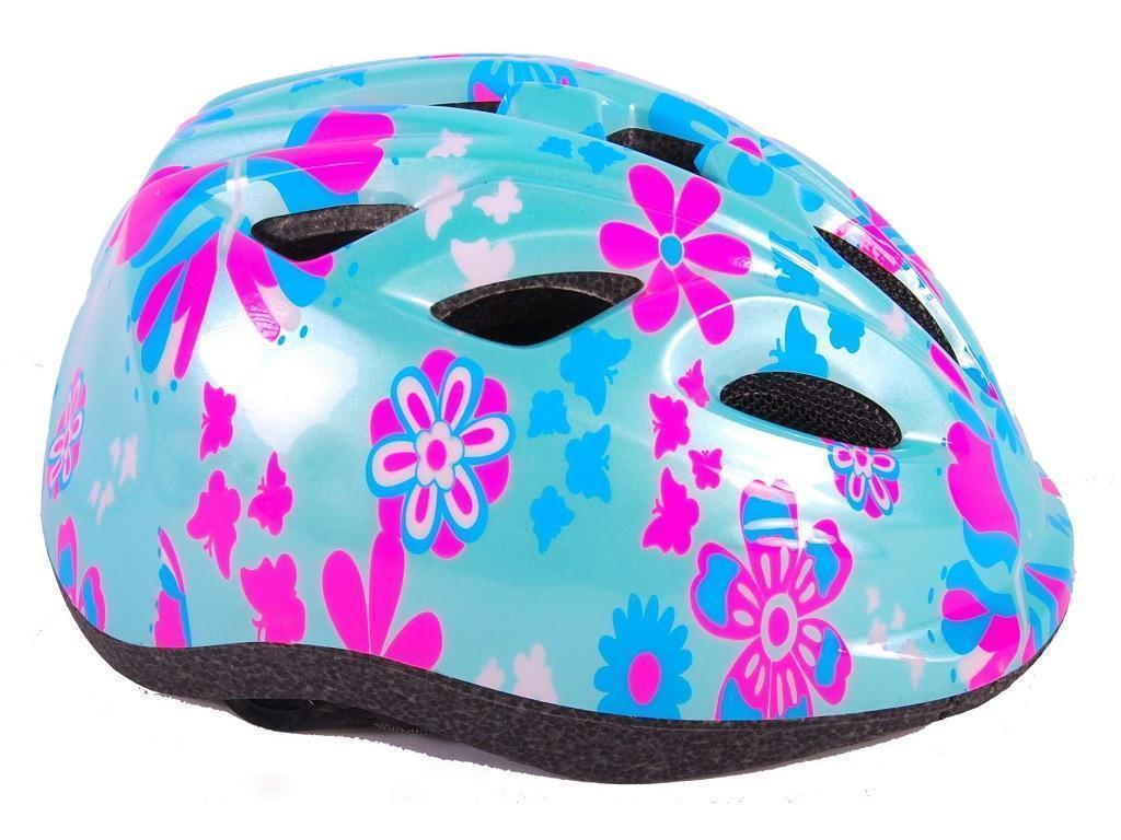 Otroška kolesarska čelada modra z rožami
