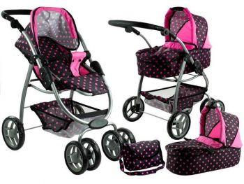 Otroški voziček igrača Alice 2 v 1 črna - pink