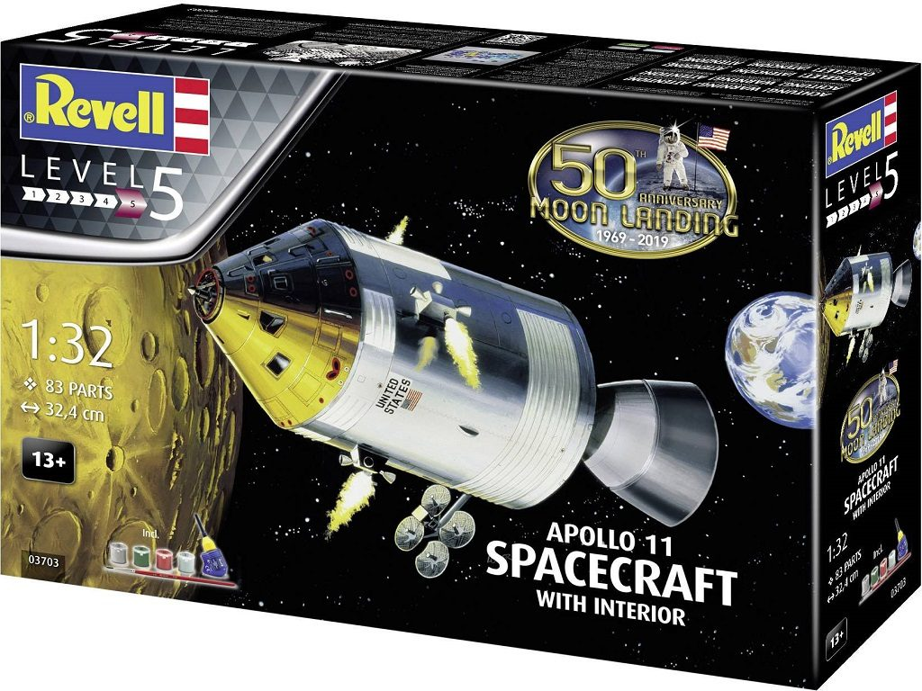 Revell model vesoljskega plovila Apollo 11 Spacecraft with Interior (50 Years Moon Landing) 03703
