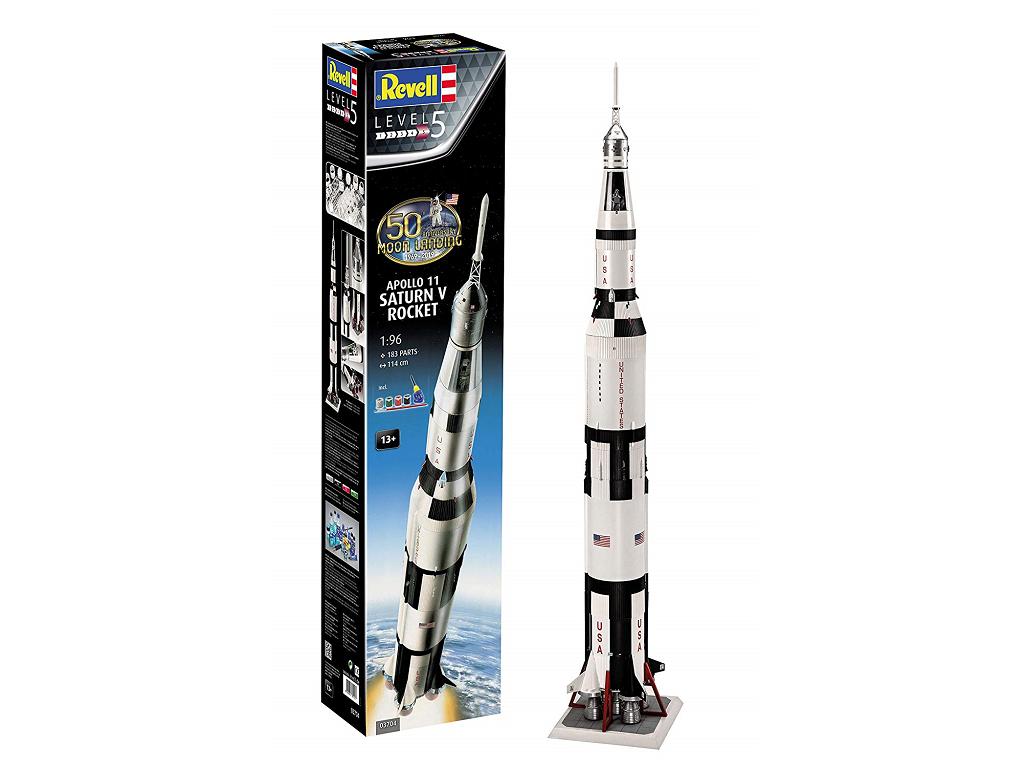 Revell raketa Apollo 11 Saturn V Rocket (50 Years Moon Landing) (set z barvami) 03704