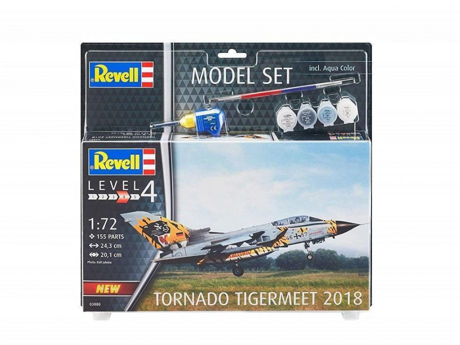 Revell maketa letala Tornado ECR Tigermeet 2018 set z barvami, čopičem in lepilom 63880