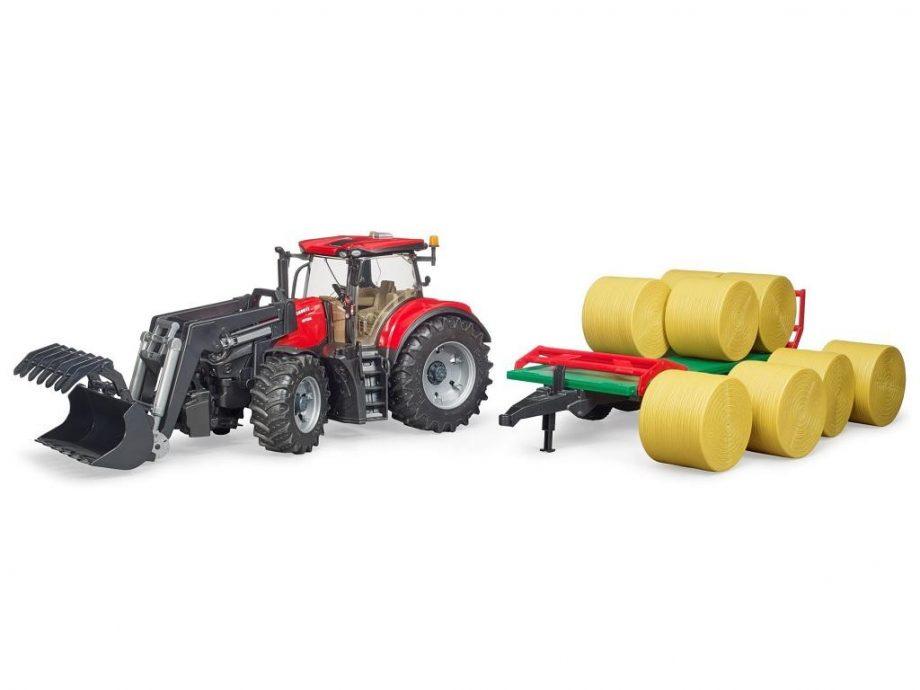 Bruder traktor z prikolico z balami 03198