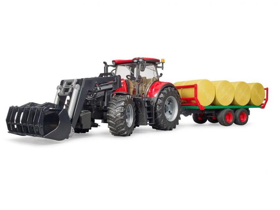 Bruder traktor Case z nakladalko in balami 03198