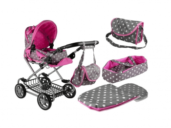 Otroški voziček Alice s pikami - sivoroza eigrače