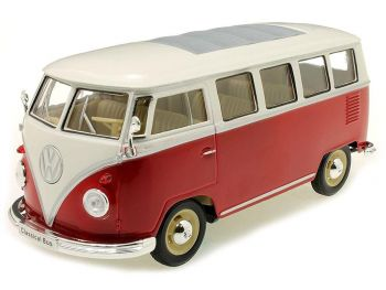 Kovinski model avta Welly 1963 gasilski VOLKSWAGEN T1 BUS 1:24