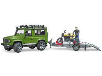 Bruder igrača Land Rover Defender z prikolico za motor 02589