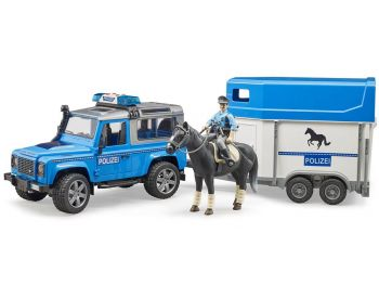 Bruder igrača Land Rover Defender z prikolico za konja 02588