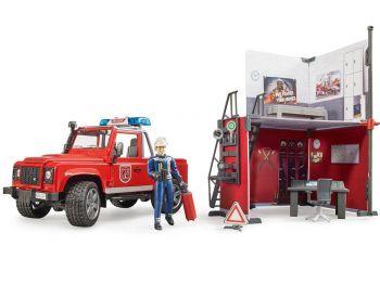 Bruder Gasilska postaja z vozilom Land Rover Defender 62701
