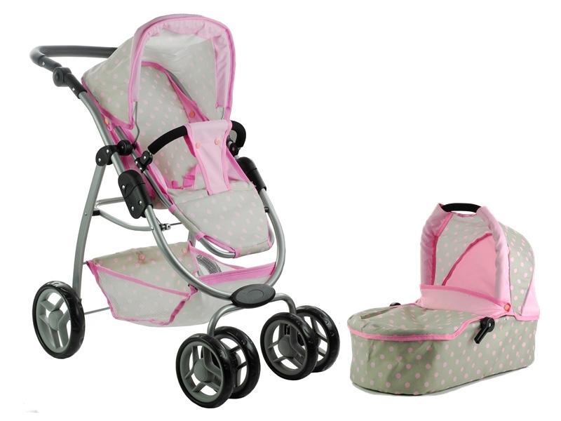 Otroški voziček igrača Alice 2 v 1 siva - pink