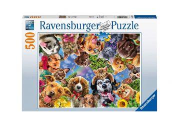 Sestavljanka Selfie - različni psi in mačke 500d Ravensburger