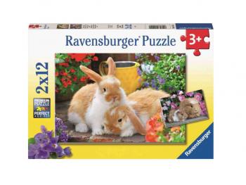 Sestavljanka Zajčki in morski prašički 2x12 Ravensburger