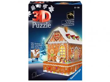 Ravensburger 3D sestavljanka Hišica iz medenjakov ponoči 257d