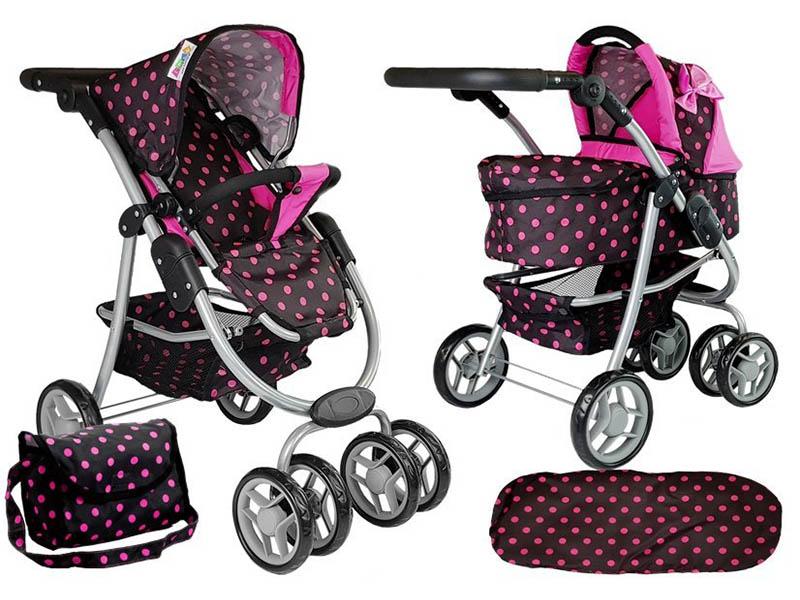 Otroški voziček igrača Alice 2 v 1 črna-pink