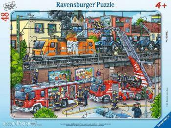 Sestavljanka gasilci na železniški postaji 48-delne