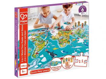 Hape puzzle Zemljevid sveta 2v1