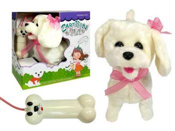 Pes na baterije -bel z roza ovratnico 4888