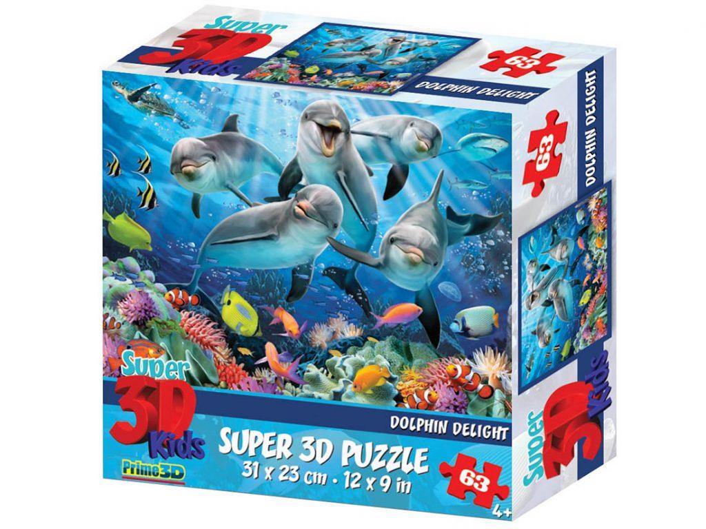 3d sestavljanka delfini
